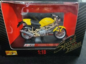 Maisto Ducati Monster 900 Yellow 1/18 Scale DieCast Model Motorcycle New