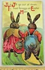 Jack and Jill Anthropomorphic Bunnys Easter Postcard