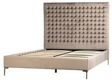 "90"" Rufino Bed Queen Solid Hardwood Frame Tufted Suede Upholstery Brass Legs"