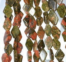 8X6-16X10MM UNAKITE GEMSTONE BROWN GREEN DIAMOND PRISM NUGGET LOOSE BEADS 14""