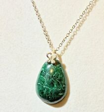 "20"" Pendant Sterling Chain Azurite Stunning Green Variations"
