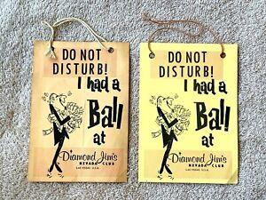 2 Vintage Las Vegas Diamond Jim's Nevada Club Do Not Disturb! Signs: 2 Versions