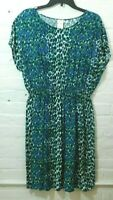 Womens PM Summer Dress Pullover Animal Print Green Blues White Blair
