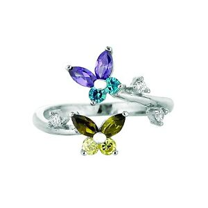 .925 Sterling Silver Blue Green Butterfly CZ Toe Ring Body Art Adjustable