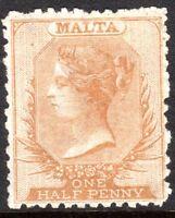 Malta 1863 buff-brown 1/2d crown CC rough perf 12.5  mint SG14