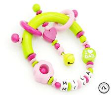 ♥ Greifling/Greifring mit Namen ★ Eule/I love Mum/Dad in hellgrün/pink/rosa ★