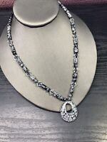 Vintage Grey black Natural Stone Pendant Crystal clear beadedNecklace