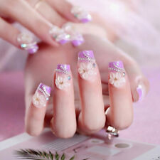 24pc Purple Drill Nails Flower Full Frame False Nail Tips Full Cover Fake Na_ Dr