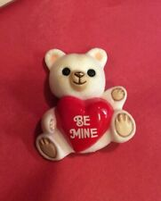 "Hallmark Vintage 1985 Valentine Heart ""be Mine� White Bear Lapel Pin Brooch"