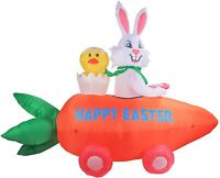 4'FT EASTER BUNNY & CHIC IN CARROT CAR AIRBLOWN INFLATABLE LED YARD DECOR