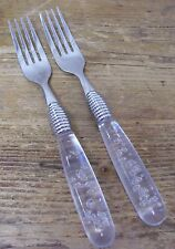 Gibson Stainless 2 Dinner Fork Clear Acrylic Plastic Controlled Bubble Handle