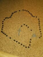 Faceted Black Glass Vintage Rosary Beads Dimensional Crucifix NICE (BB)