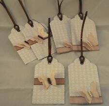 6 x Handmade Beige Brown Ivory Butterfly Gift Tags Labels Party Wedding Favour