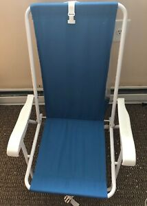 Low Portable Backpack Beach Chair with Storage in Blue BRAND NEW