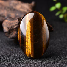 Yellow Tiger's Eye Palm Stone Quartz Healing Crystal Massage Polished Meditation