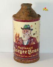 New Listing1940's Irtp Cincinnati Burger-Brau Ohio Cone Top Beer Can Oh Usa Graphic Beauty