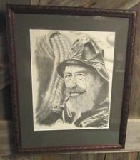 Vtg Sea Captain Framed Sketch - Retro Old Man Fisherman Nautical Decor P.J. Bucy