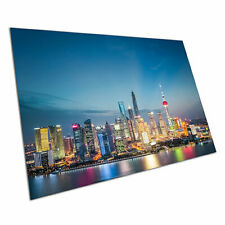Poster print evening in the city of Shanghai financial district China A1 Poster