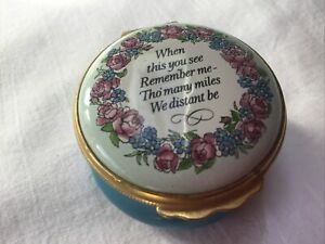Halcyon Days Enamels. When You See This Remember Me Trinket Pill Pot.