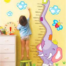 Children Growth Height Measure Chart Cute Cartoon Elephant PVC Wall Stickers