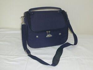 A Samsonite Vanity Case in navy blue with a detachable shoulder strap.