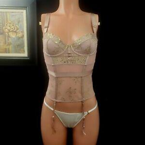 Victoria's Secret Gold Foil Lace Mesh Merrywidow Garter 32 C