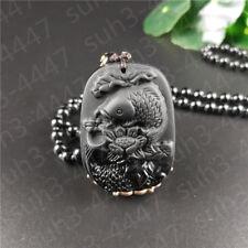 Natural Black Obsidian Carp Lotus Pendant Necklace Fashion Charm Jewelry Hot