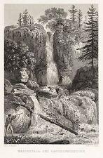 SÄCHSISCHE SCHWEIZ - LANGHENNERSDORFER WASSERFALL - Richter - Stahlstich 1836