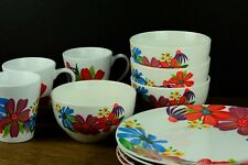 Royal Norfolk Dinner 11 piece Set Colorful flowers Microwave & Dishwasher Safe