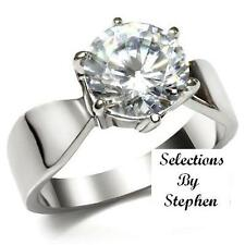 PLATINUM/STEEL ALLOY HUGE 3 CARAT IDEAL CUT SIMULATED MOISSANITE RING SIZE 7