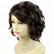 Short Dark Coffee Brown Curly Summer Style Skin Top Ladies Wig From WIWIGS UK