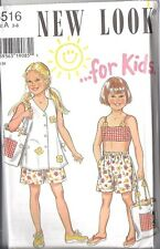 6516 Vintage UNCUT New Look SEWING Pattern Girls Vest Shorts Bikini Top Bag 3-8