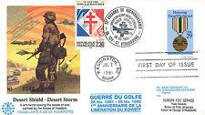"""IK28 FDC USA """"GUERRE DU GOLFE / Opération BOUCLIER DÉSERT & TEMPÊTE DÉSERT"""" 1992"""
