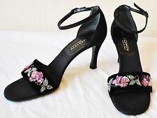 Designer St. John Black Bead Sequin Accent Platform High Heeled Dressy Sandals 7