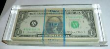 One Hundred One Dollar Bills Encased In Lucite Paperweight 1969 Series 100 $1