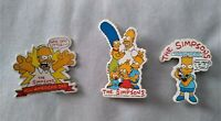Vintage 1989 Simpsons Lot of 3 Plastic Pins Homer Bart Marge Lisa Maggie