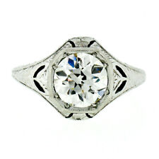 Antique Art Deco Platinum 1.55ct GIA Diamond Filigree Engraved Engagement Ring