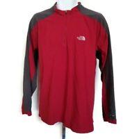 The North Face Mens Sz XL Red Gray 1/4 Zip Long Sleeve Fleece Pullover Shirt