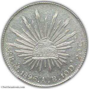 Mexico 1896-Mo AB 8 Reales NGC AU58