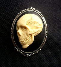 Skull Resin Cameo Brooch Gothic  60mm