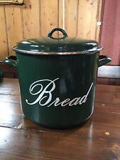 Judge Green Enamel Bread Crock / Bread Bin