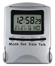 Nuevo Acctim recitar viaje hablando Caja Plegable De Plata Reloj de Alarma 14647