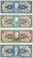 Vintage Group Lot of 4 Different UNC World Banknotes Brazil ABNC TDLR US Seller