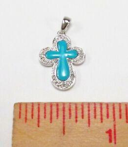 PreOwned WLC William Lam 14K White Gold Turquoise Petite Eternity Cross Pendant