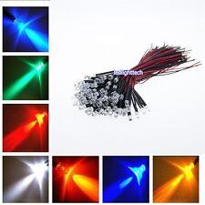 100x Prewired LED 5mm White Warm Red Green Blue Yellow UV Pink Orange 5V 12V 24V
