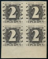 BRAZIL #C51P (Sanabria 82v) 2cr Airmail, Plate Proof in Black, Blk of 4, no gum