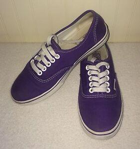 Vans Purple Canvas Shoes Women's US 5 Girls US 3 Men's US 3.5 Off The Wall Low