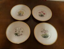4 X Royal Worcester Flower Gilded Saucers For Coffee Cans    (pt28)