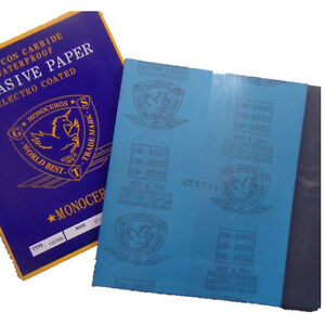 """5 Sheets Sandpaper 1500 Grit Waterproof Paper 9""""x11"""" Wet/Dry Silicon Carbide"""