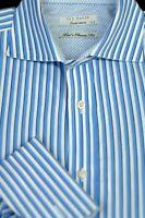 Ted Baker London Men's English Blue White Stripe Cotton Shirt L Large